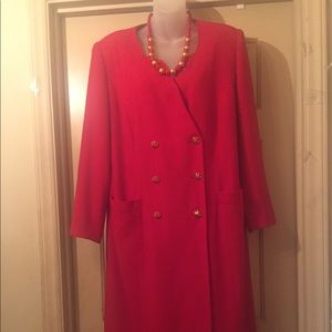 Red coat dress with gold buttons